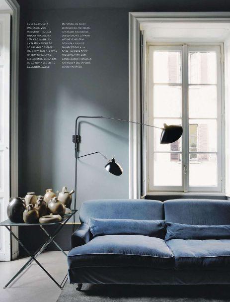 blue grey walls w/ serge mouille lighting via MFAMB