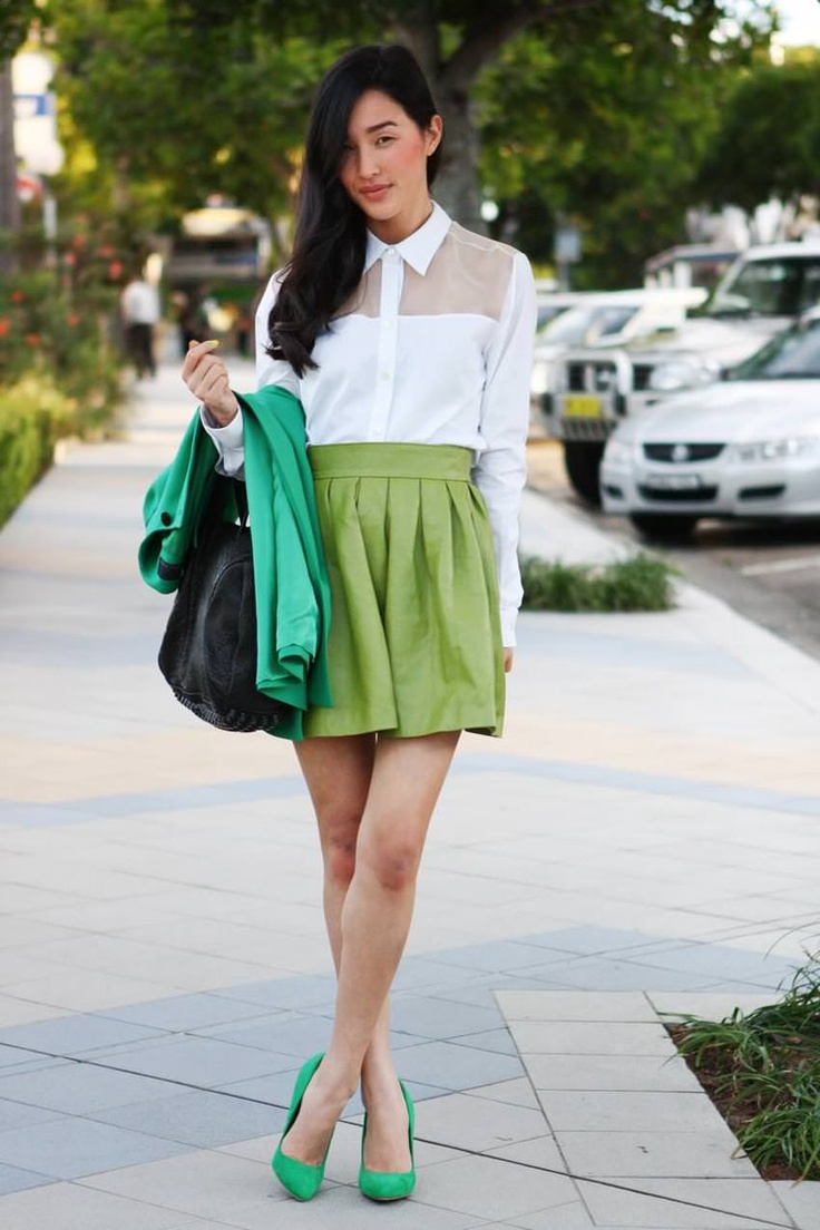 Nicole Warne (Gary Pepper) - Yeojin Bae shirt, Desordre leather skirt, Zara coat and heels, Alexander Wang bag.  August 2011