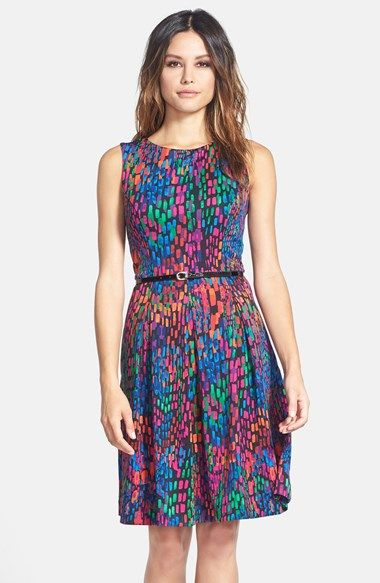 Ellen Tracy Print Scuba Fit & Flare Dress