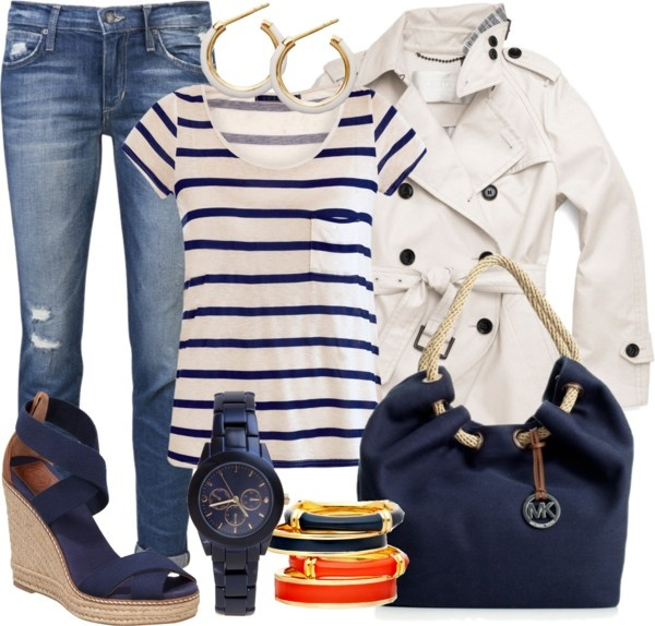 """""""Blue and White ~Marine Style~"""" by gangdise on Polyvore"""