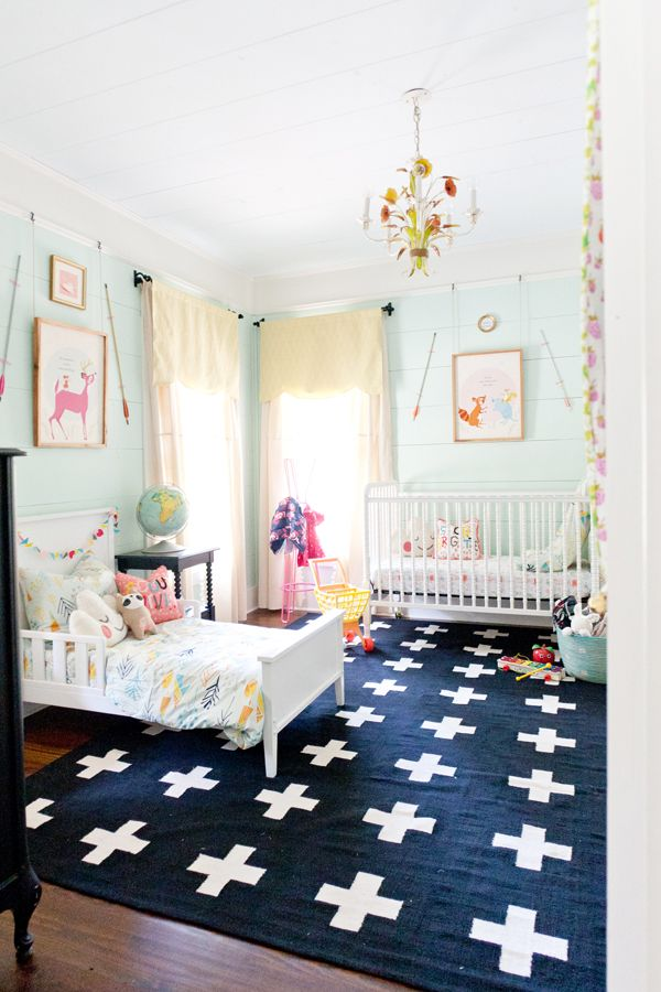 shared room inspiration   - adorable. Love the rug, love the colors, love everything!