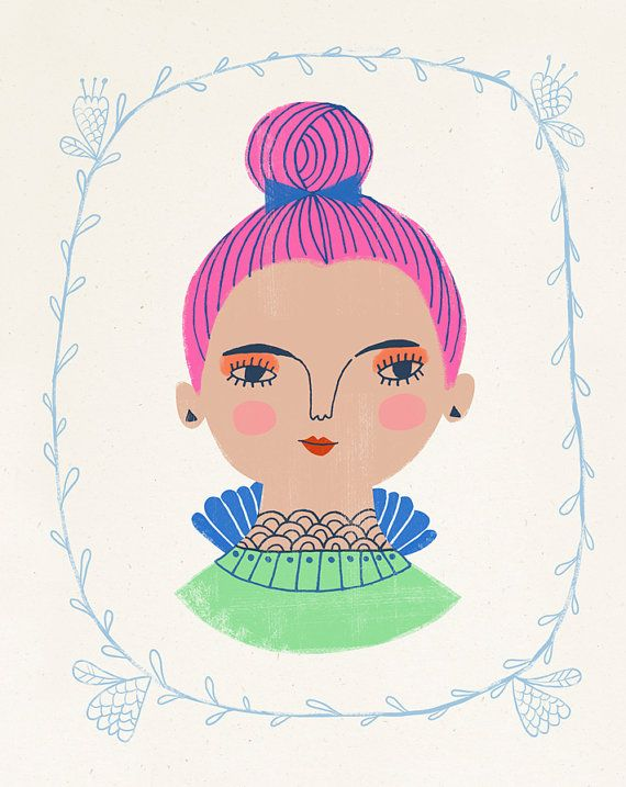 A girl with a magenta topknot by Sarah Walsh / Petit Reve. #MalloryMcInnis