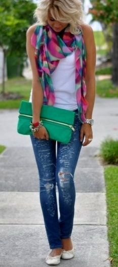 #blue jeans #plaid scarf #green clutch #cute #style #fashion For more tips + ideas, visit www.makeupbymisscee.com