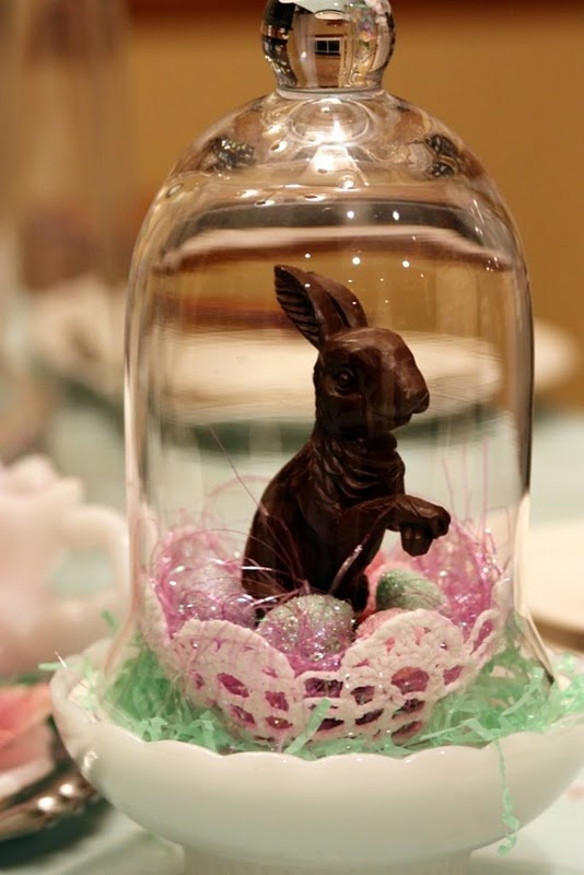 Darling bunny in a cloche! Knew I had a little cloche for something!