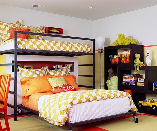 Here is a new way to arrange bunk beds! More kid's rooms:  http://www.bhg.com/rooms/kids-rooms/shared-rooms/shared-spaces-kids-rooms-for-two/?socsrc=bhgpin072913bunkbeds