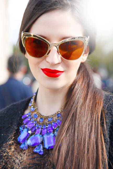 Paris Fashion Week Accessories - Paris Street Style Accessories - ELLE  Spitfire Cat's Eye Sunglasses
