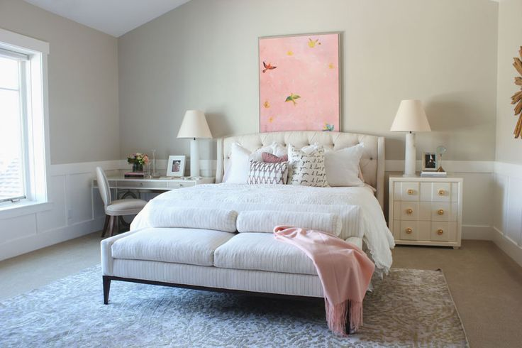 by alice lane home collection | pink, paule marrot artwork, linen tufted bed, white nightstand, desk as nightstand, end of bed bench