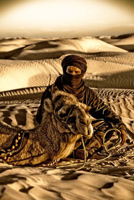 Beduino uomo e il suo cammello nel Sahara