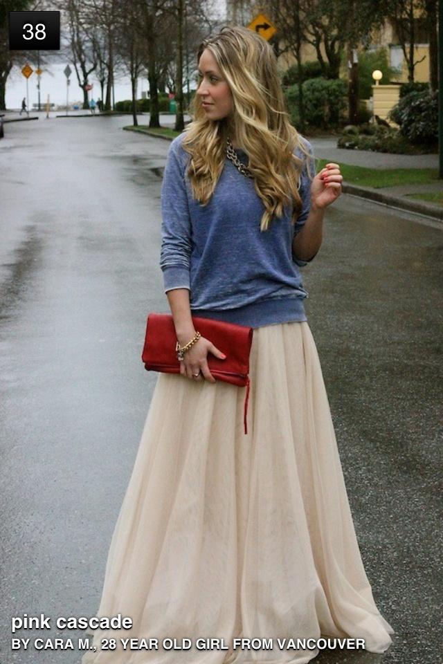 Full ball skirt with grey sweatshirt.... LOVE!
