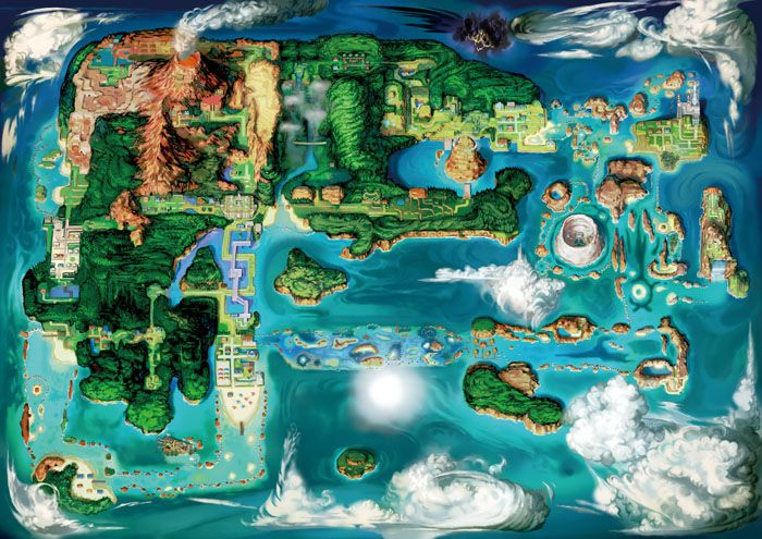 Pokemon Omega Ruby and Pokemon Alpha Sapphire's Hoenn Region Map.