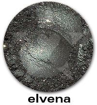 Elvena- A muted cool green with silvery tones and bright gold sparkles. #aromaleigh #mineralmakeup