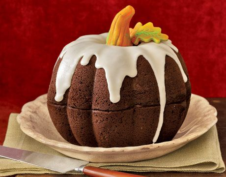 pumpkin cake from two bundt cakes