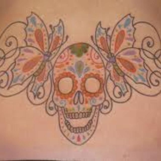 sugar skull butterfly tat coloring pages pinterest