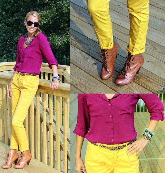 Bright yellow with fuchia color block