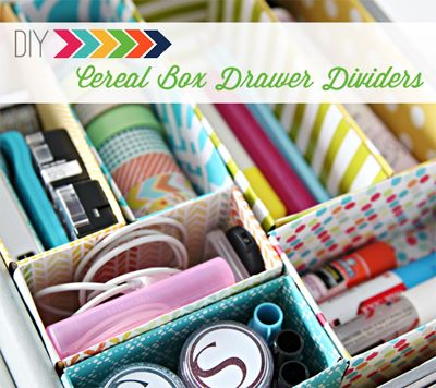Use cereal boxes for drawer dividers. Great for art supplies and electronics.  www.wholesomehomes.net