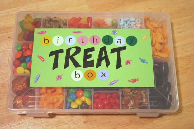 Birthday Treat Box! Such a cute idea! - could do a grown up version with crafty bits for crafty friends