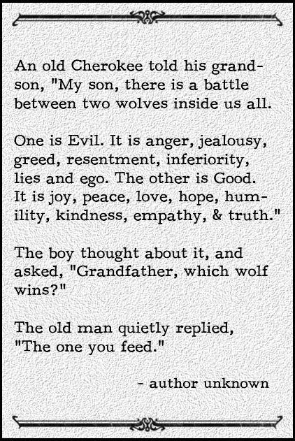 So true...but isn't the problem that most of us don't know how to stop feeding the wrong wolf?