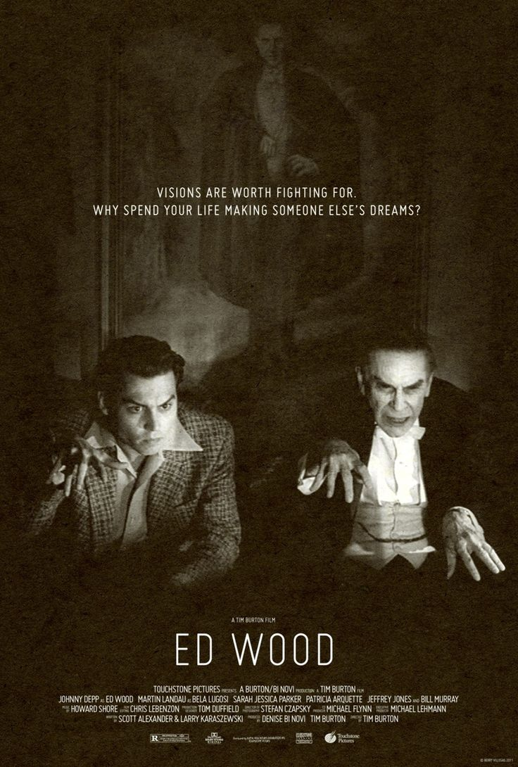 Ed Wood a 1994 American comedy-drama biopic directed & produced by Tim Burton starring Johnny Depp as cult filmmaker Ed Wood. The period in Wood's life when he made his best-known films as well as his relationship with actor Bela Lugosi.   Critical acclaim, but not a box office success. It won 2 Academy Awards: Best Supporting Actor for Landau (as Bela)Also  nominated for 3 Golden Globes. Perfect flick for Ed Wood fans, and fans of one of the worst movies ever made> Plan 9 from Outer Space.