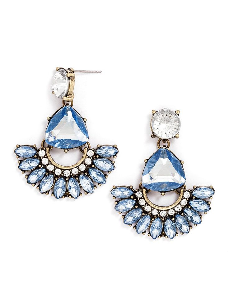 Elegant fan silhouettes are touched with a playful pastel hue for drop earrings with plenty of charm.