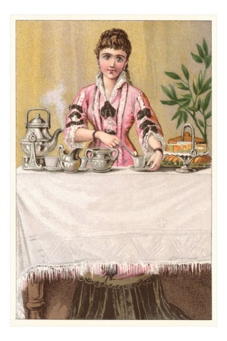 Victorian Lady Serving Coffee and Cake Premium Poster