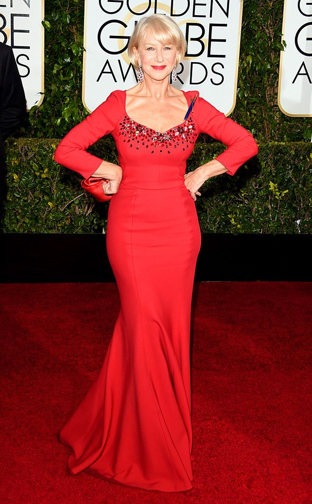 Helen Mirren from 2015 Golden Globes Red Carpet Arrivals | E! Online