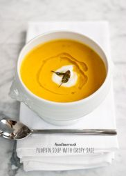 Pumpkin Soup with Crispy Sage via FoodieCrush