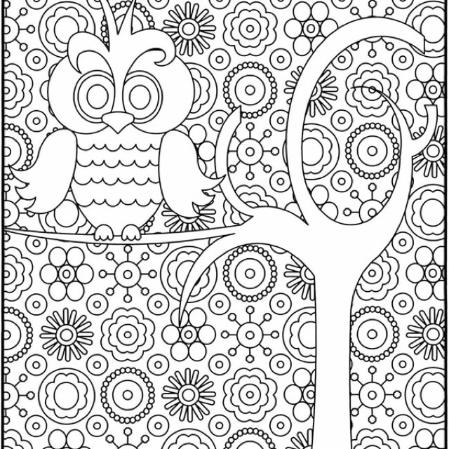 free hard owl coloring pages