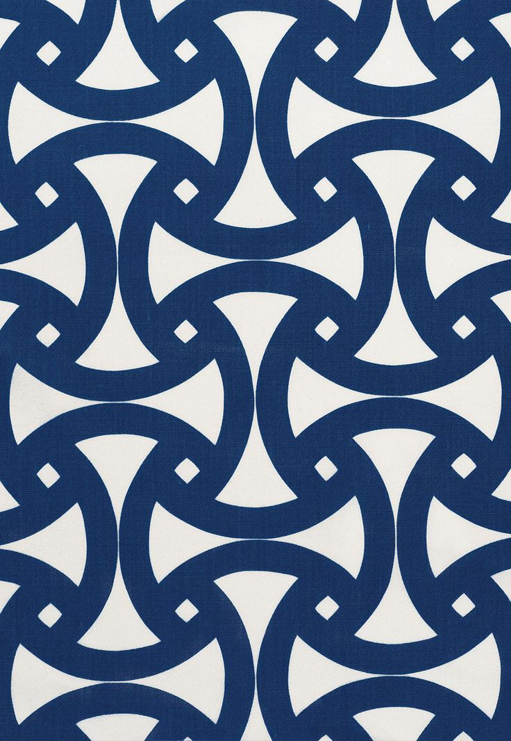 Fabric | Santorini Print in Marine | Schumacher