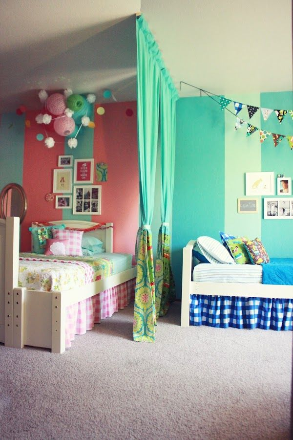Life Made Lovely - Heather's Home Tour (i love the changing wall colors & fabric divider to make this one large room work for two kids)