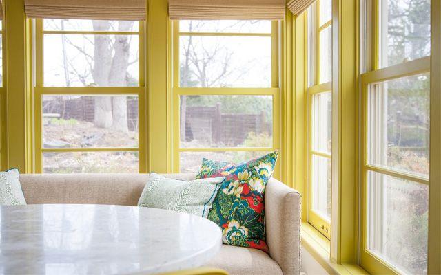 Sun room trim painted Benjamin Moore Sweet Vibrations