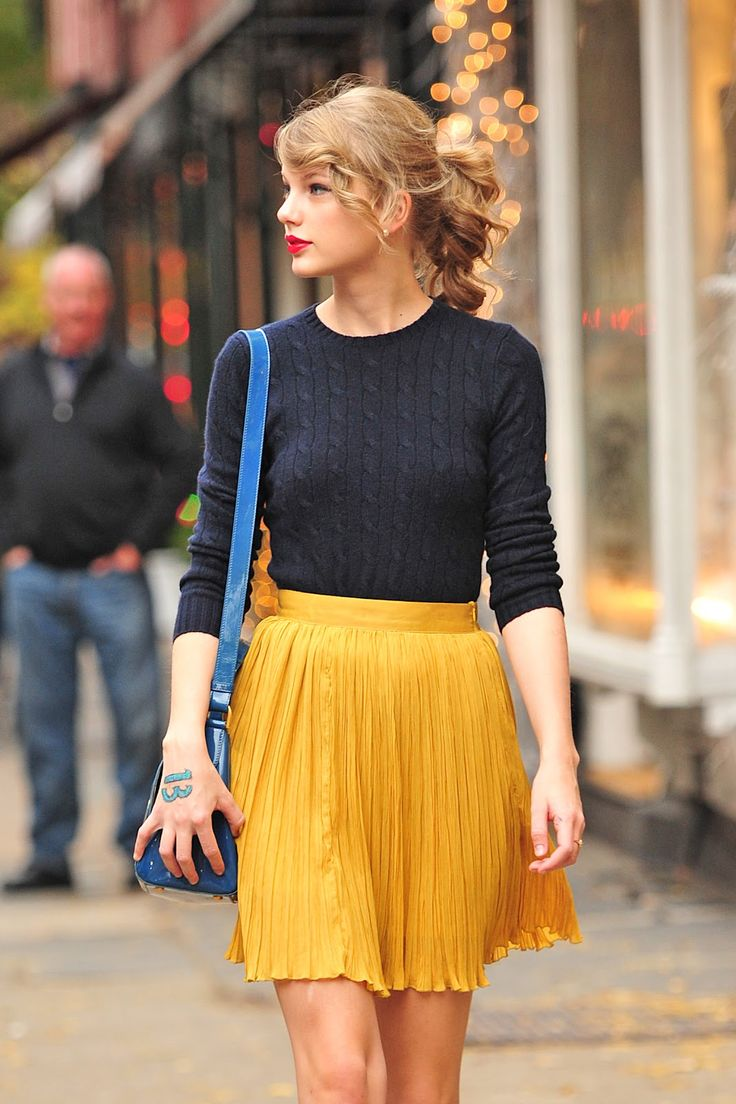 taylor swift yellow skirt
