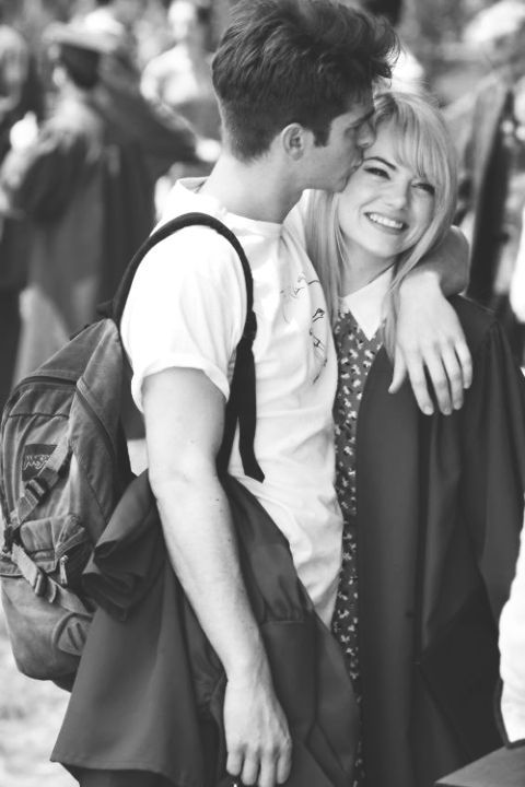 Emma Stone and Andrew Garfield as Peter Parker and Gwen Stacy on the set of The Amazing Spiderman 2