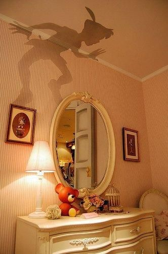 Peter Pan outline, cut out and put on top of lamp shade :)....if only i had this as a child !!!!