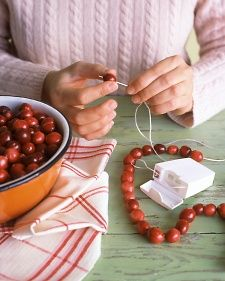 Great idea! Use waxed dental floss to string popcorn or cranberries - it's slick, slides easily and is strong!