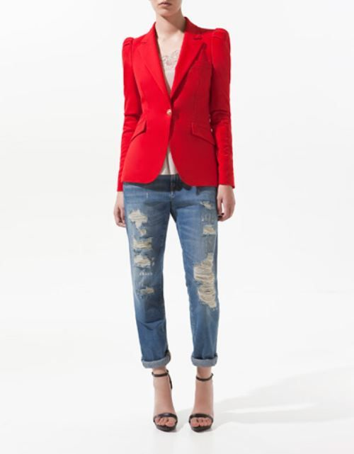 red blazer & destroyed jeans