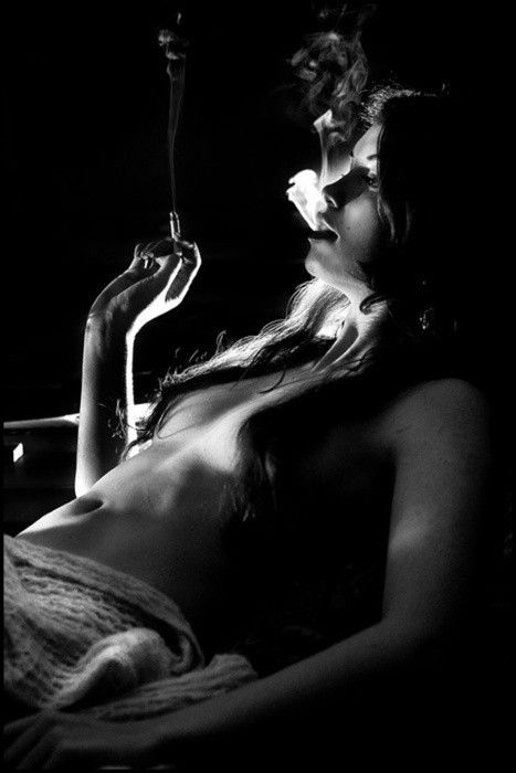 kick back | relax | smoke | exhale | smoking | black & white photography | topless smoker | inhale
