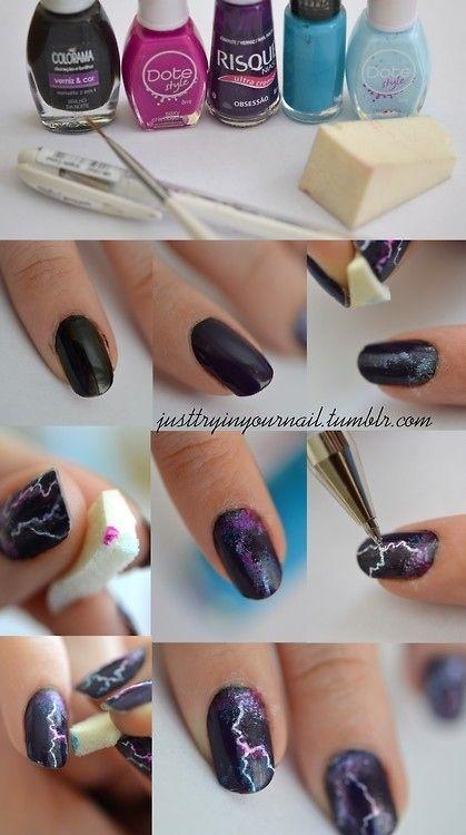 Lightning Nails Are The New Galaxy Nails #diy #nails #nailart