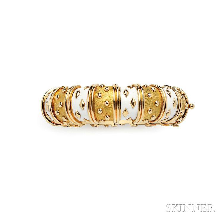 """18kt Gold and Enamel """"Dot Losange"""" Bracelet, Schlumberger, Tiffany & Co., France"""