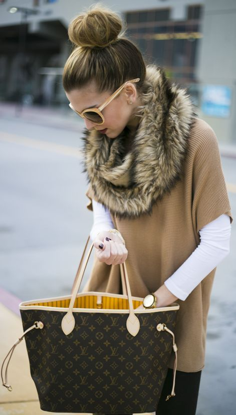 Michael Kors Beige Poncho Sweater, LV bag, and fur.