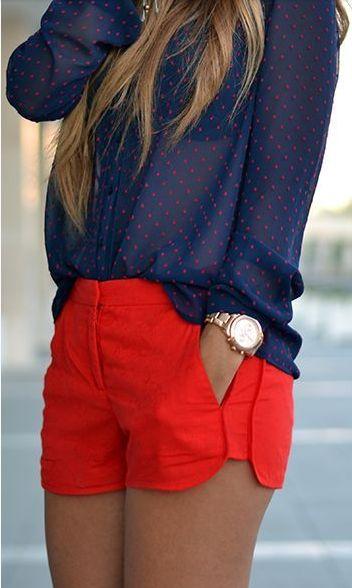 Navy + red.