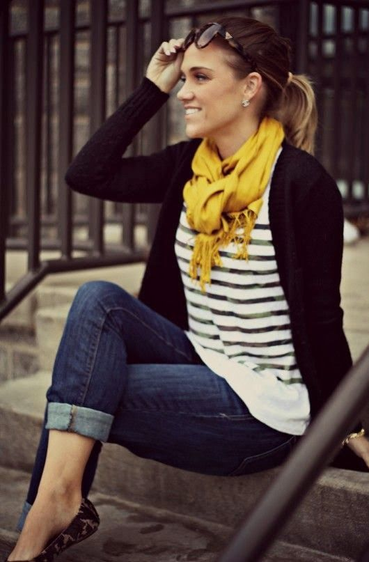 Amazing Fringe Wrapped Scarf With Jacket and Blue Jeans. Lovely Style