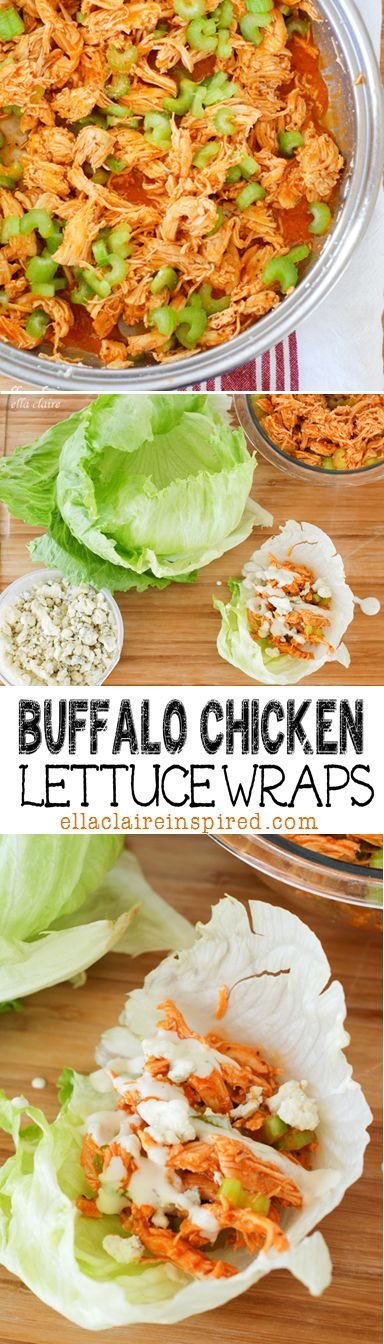 These are perfect for game day! Buffalo Chicken Lettuce Wraps