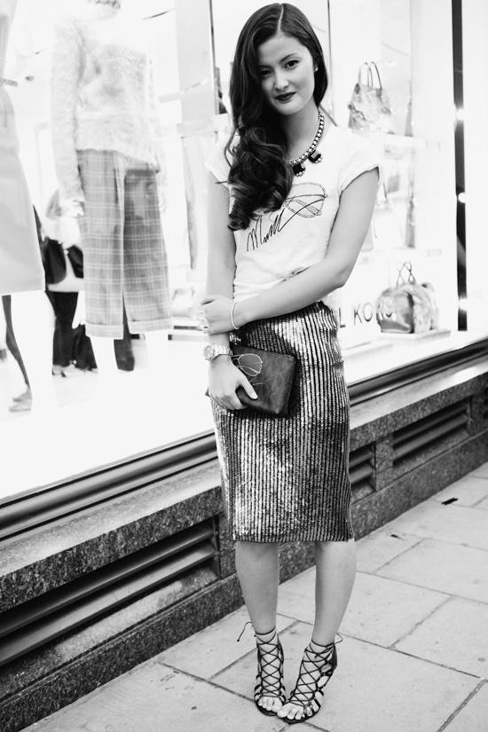 fancy skirt simple shirt