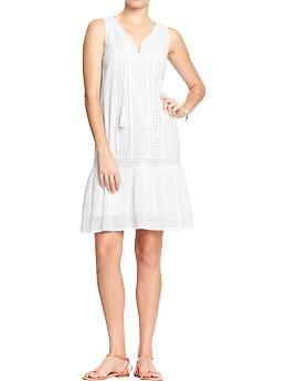 Women's Crinkle-Gauze Drop-Waist Dresses | Old Navy