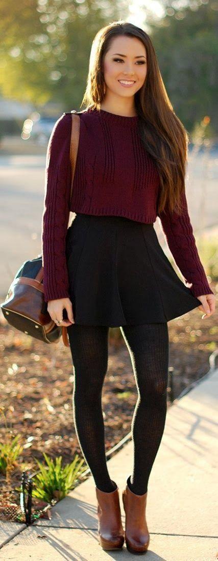 burgundy top skirt pantyhose handbag Style outfit clothing women apparel fashion