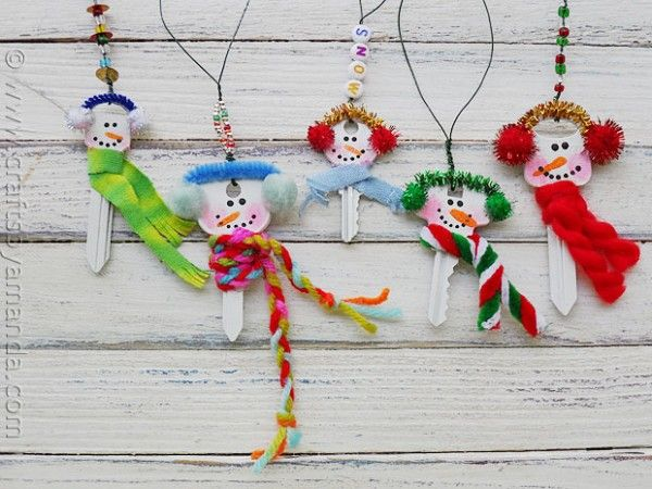 Oooh, cute way to upcycle old keys that you no longer need -- little snowman ornaments! From Crafts by Amanda.