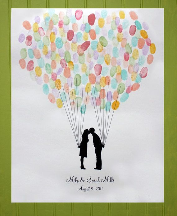Custom Silhouette Wedding Guest Book Alternative - 18x24 Print with Fingerprint Balloon and your Silhouette made from your photos