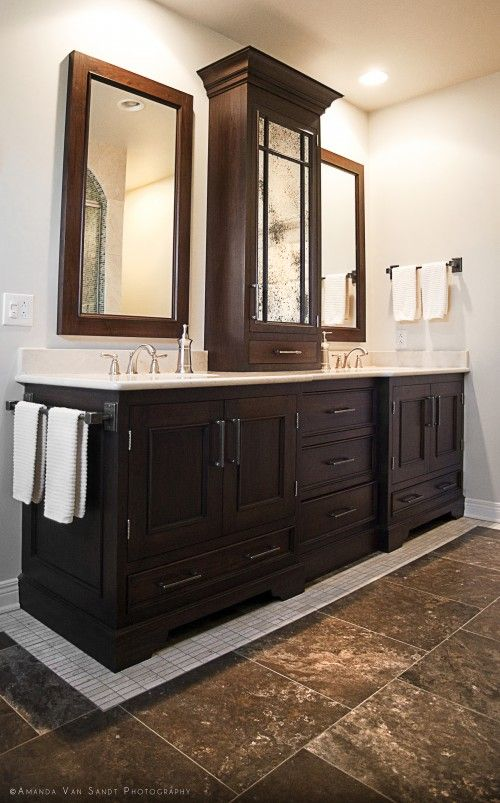 bathroom vanities with linen towers this homeowner chose a custom rh vxyxb p7 de