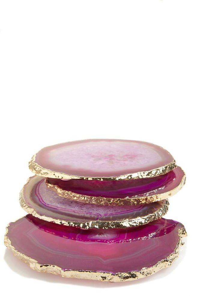 Gold Trim Agate Coasters