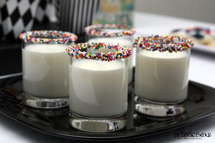Milk shots with sprinkles for kids on New Years,